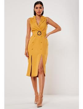 Mustard Sleeveless Belted Midi Blazer Dress by Missguided