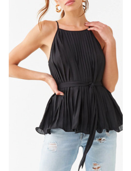Belted Pleated Cami by Forever 21