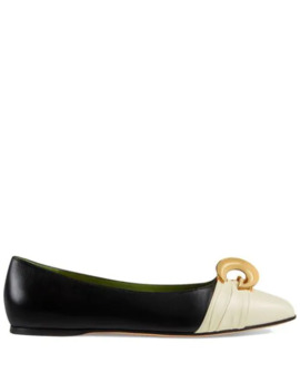 Leather Ballet Flat With Half Moon Gg by Gucci