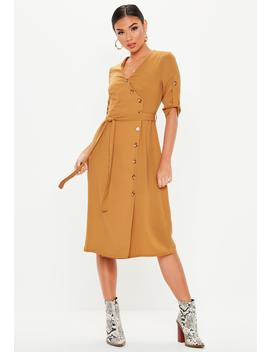 Mustard Side Button Tie Waist Tea Dress by Missguided