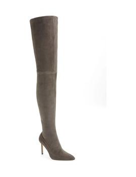 Pour La Victoire Cassie Anthracite Skin Tight Suede Over The Knee Stiletto Boot by Pour La Victoire