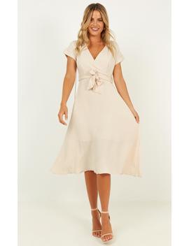Talk Power Dress In Beige by Showpo Fashion