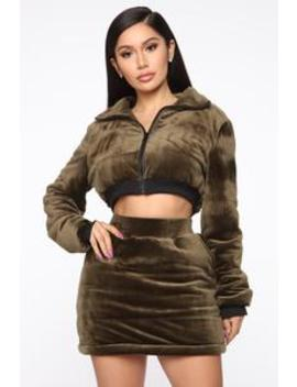 Snow Bunny Velour Skirt Set   Olive by Fashion Nova