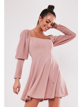 Blush Puff Sleeve Milkmaid Corset Skater Dress by Missguided