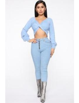 Sweet Thing Fuzzy Sweater   Light Blue by Fashion Nova
