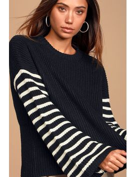 Feeling Great Black Striped Bell Sleeve Sweater by Lulu's