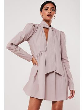 Blush Poplin Bow Tie Smock Dress by Missguided
