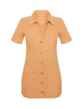 Biscuit Button Through Short Sleeved Denim Dress  by Prettylittlething