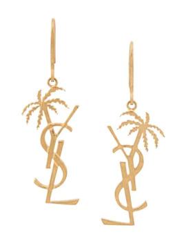 Monogram Palm Tree Earrings by Saint Laurent