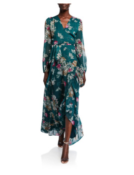 The Meryl Floral Long Sleeve Wrap Dress by Wayf