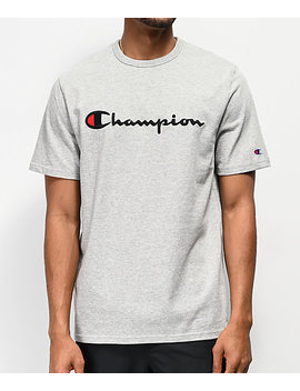Champion Embroidered Heritage Script Grey T Shirt by Champion