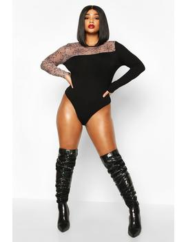 Plus Halloween Cobweb Mesh Cut Out Bodysuit by Boohoo
