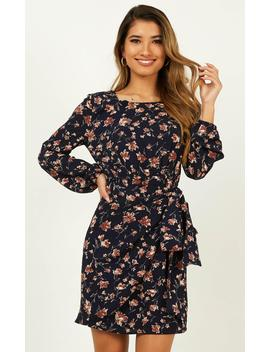 One Last Chance Dress In Navy Floral by Showpo Fashion