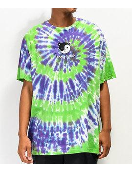 Teddy Fresh Yin Yang Ted Green &Amp; Purple Tie Dye T Shirt by Teddy Fresh
