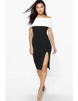 Elin Contrast Off The Shoulder Midi Bodycon Dress by Boohoo