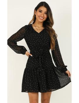 Making Progress Dress In Black Spot by Showpo Fashion