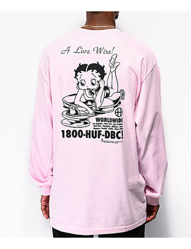 Huf X Betty Boop Livewire Pink Long Sleeve T Shirt by Huf