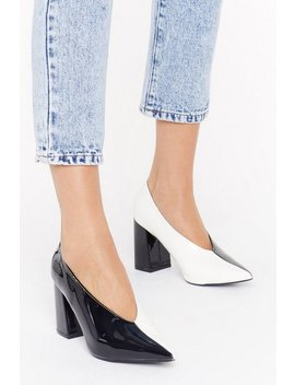 Part Two Tone Patent Faux Leather Court Heels by Nasty Gal