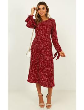 Get Creative Dress In Wine Spot by Showpo Fashion