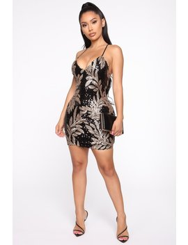 Shine On Sequin Mini Dress   Black/Gold by Fashion Nova