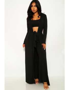 Black Ribbed Three Piece Outfit by Ami Clubwear