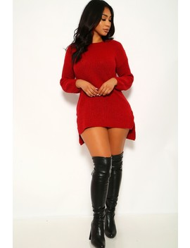 Wine Long Sleeves Casual Sweater Dress by Ami Clubwear
