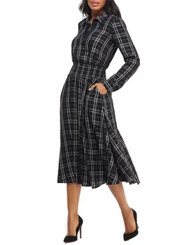 Plaid Long Sleeve Shirtdress by Maggy London