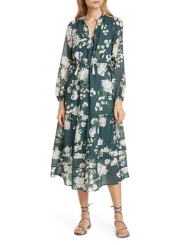 Sandrine Floral Split Neck Long Sleeve Dress by Dolan