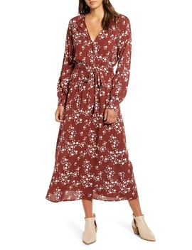 Floral Print Long Sleeve Midi Dress by All In Favor
