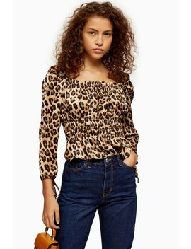 Leopard Print Ruched Prairie Blouse by Topshop
