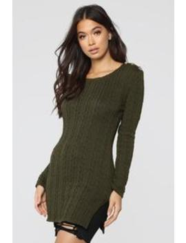 Kathy Sweater Tunic   Olive by Fashion Nova