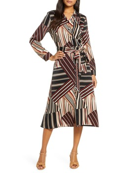 Stripe Tie Waist Midi Shirtdress by 1901
