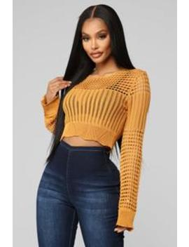 Here To Stay Sweater   Mustard by Fashion Nova