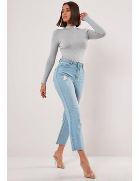 Gray Funnel Neck Long Sleeve Top by Missguided
