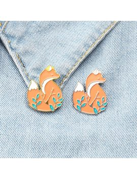 Fox Pin Animal Pin Cute Animal Woodland Fox Badges Brooches Lapel Pin Fox Jewelry Brooches For Women Enamel Accessories Gifts by Ali Express.Com