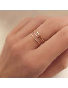 Thin Dainty Rose Gold Hammered Ring / Stackable Simple Delicate Ring For Her / Textured Band Stacking Ring by Etsy