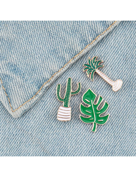 Lovely Green Plant Lapel Pin Coconut Tree Mexican Cactus Leaf Brooch Diy Pin For Scarf Sweater Shoulder Collar Jewelry Pin by Ali Express.Com