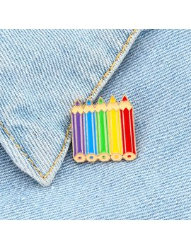 Colored Pencils Enamel Pin Rainbow Pins Childhood Sweet Cute Badge Brooch Coloring Pencil Jewelry Gift For Kids Girls Friends by Ali Express.Com