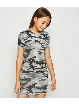 Girls Khaki Camo Bodycon Dress by New Look