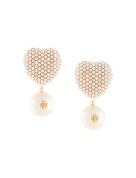 Pearl Heart Charm Earrings by Tory Burch