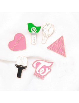 Kpop Star Group Brooches Light Stick Pins Blackpink Twice Exo Got7 Wanna One Seventeen Logo Badge Jewelry Accessories Fan Gift by Ali Express.Com