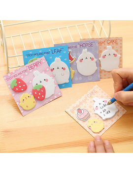 1 Pack Kawaii Molang Pet Strawberry Sticky Notes Memo Pad Stickers Stationery Message School Office Supply B10 01 by Ali Express.Com