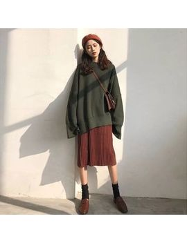 Apotheosis   Set: Side Slit Oversize Sweater + Knit Midi Straight Fit Skirt by Apotheosis