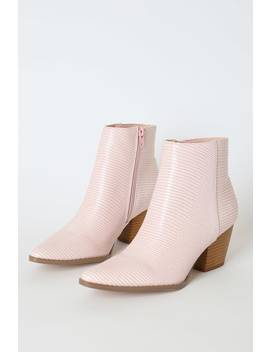 Spirit Blush Snake Pointed Toe Ankle Booties by Lulus X Matisse