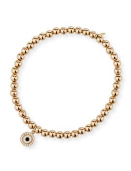 Sydney Evan 14k Gold 4mm Bead & Diamond Evil Eye Bracelet by Sydney Evan