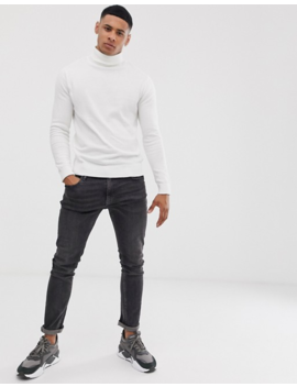 Brave Soul 100 Percents Cotton Roll Neck Jumper In White by Asos