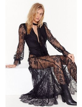 Pink Silk And Coffee Lace Maxi Dress by Nasty Gal
