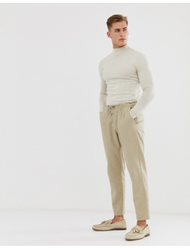 Asos Design Cotton Turtle Neck Jumper In Oatmeal by Asos Design