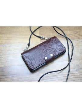 Shoulder Strap Leather I Phone X / Xs Max / Xr / 8 / 8 Plus / I Phone 7 / 7 Plus / Wallet Case735 by Etsy