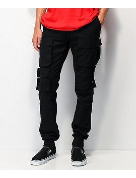 American Stitch Multi Pocket Black Cargo Jogger Pants by American Stitch